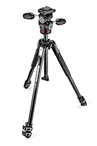 Manfrotto 190 MK190X3-3W1 Accurate Tripod with 804 3-Way Head and Quick Release Plate, Black