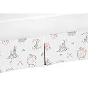 Sweet Jojo Designs Blush Pink and Grey Woodland Boho Dream Catcher Arrow Girl Pleated Baby Nursery Crib Bed Skirt Dust Ruffle for Gray Bunny Floral Collection – Watercolor Rose Flower