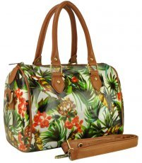 QQ1848 Green - Bowler Oilcloth Bag With Greenery & Flowers
