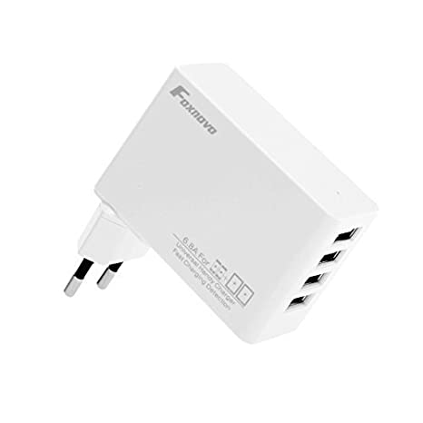 Foxnovo® FW68 34W 6.8A 4-Port USB Cargador Wall Charger Cargador de pared Adaptador Cargador portátil para iPhone 6 6 Plus, iPhone 5S 5C 5, iPhone 4S ...
