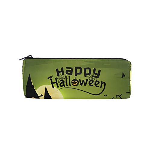 Pencil Case Halloween Witch Wallpaper Zippered Pencil Box Round Stationery Bag Makeup Cosmetic Bag for Students/Women -