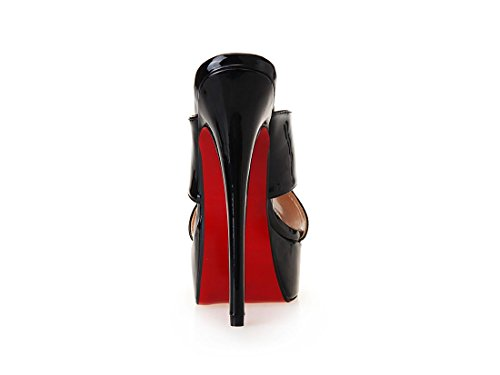 Rosso Eur Nuovo Tacco uk Pu 7 Stiletto Con Prom 8 Nvxie Pantofole 5 Nightclub 41 Dressy Nero Sandali Impermeabile Alto Eur40uk7 Sexy Donne Cavo Artificiale Primavera 6xqCwHf