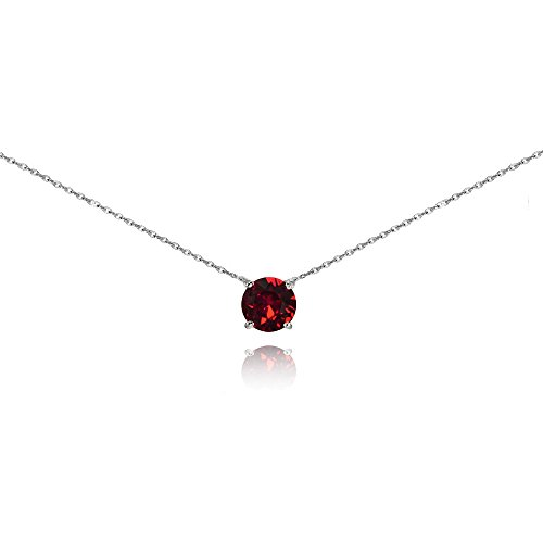 GemStar USA Sterling Silver Red Solitaire Choker Necklace Made with Swarovski Crystal