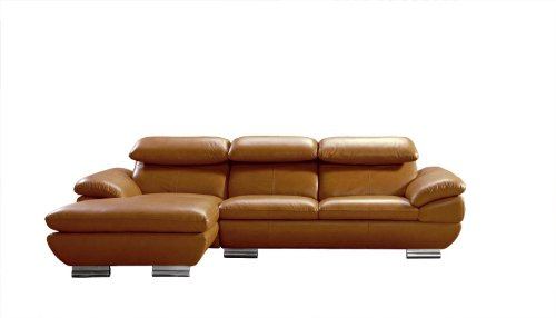 575 Full Camel Top Grain Italian Leather Sectional Sofa With Adjustable Headrests