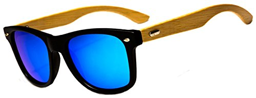 Men Women Retro POLARIZED Bamboo Wood Arms Classic Squares Sunglasses 3 Temples Made from Real Bamboo Wood. Cleaning Drawstring Bag Included. Mirrored Lenses