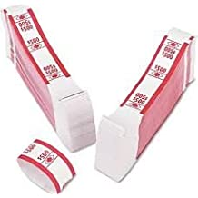 PM Company Currency Bands, $500.00, Self Adhesive, 3 Packs Of 1000, 55030