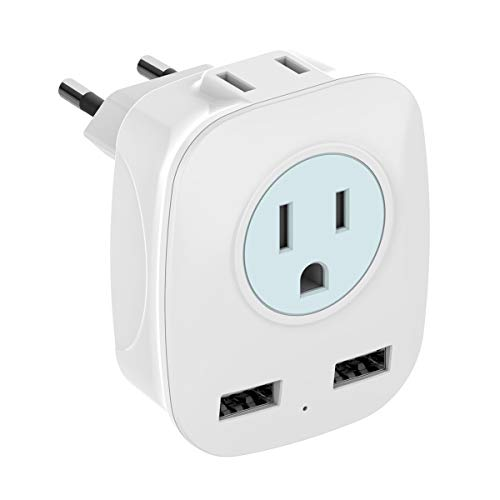 European Travel Plug Adapter, HITRENDS International Power Plug Adapter with 2 USB Ports and 2 Outlets, 4 in 1 Outlet Adapter for USA to Most of Europe EU Spain Iceland Italy (Type C)