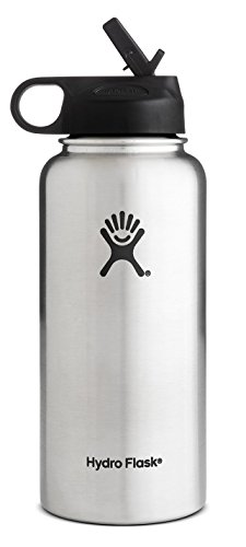 Hydro Flask Vacuum Insulated Stainless Steel Water Bottle Wide Mouth with Straw Lid (Stainless, 40-Ounce)