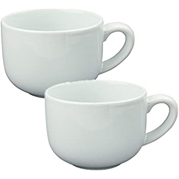 24 ounce Extra Large Latte Coffee Mug Cup or Soup Bowl with Handle - White (Set of 2)