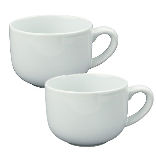 Latte Coffee Mug Cup or Soup Bowl with Handle - White (Set of 2) ()