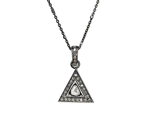 (Real Diamond Pave Rose Cut Triangle Pendant Sterling Silver Necklace April Birthstone - 17