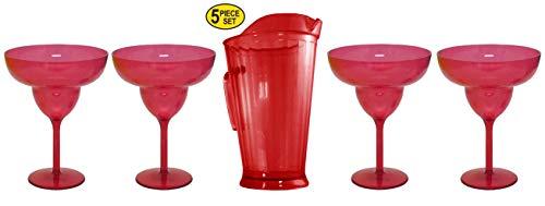 Set of 4 Large 24 oz Margarita Glasses Plus 48 oz Pub Pitcher Red For Cocktail Drinks Bar