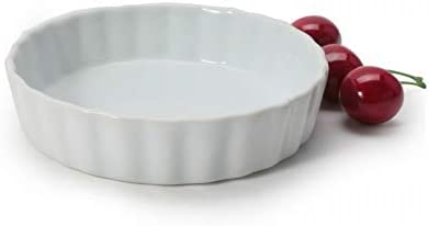 Perfect for Baking Tart Pies Porcelain Creme Brulee Ceramic Nonstick Pan Custard Dishes and Cheesecake Fluted Quiche Baking Dish GOURMEX White 12.5cm Round