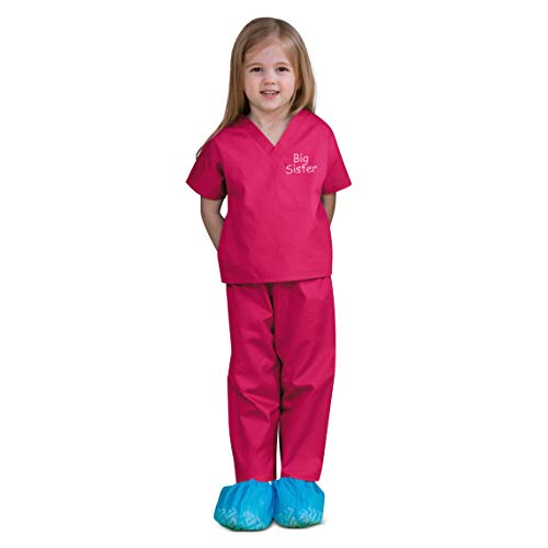 Scoots Kids Scrubs for Girls, Big Sister Embroidery, Hot Pink, 2T -