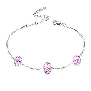 KesaPlan Crystals from Swarovski Chain Bracelet for Women Platinum-Plated Hypoallergenic Jewelry for Summer Beach, 3…