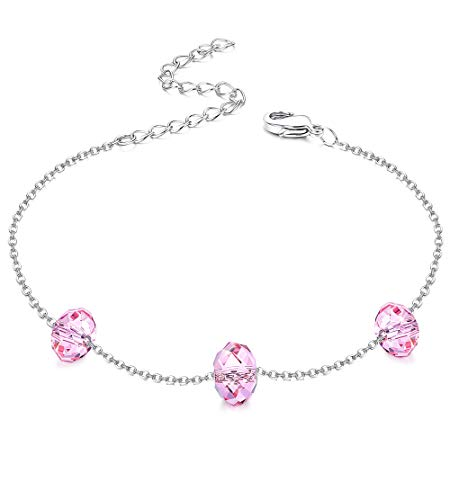 KesaPlan Pink Swarovski Crystal Bracelet for Women Fashion Jewelry Chain Link Bracelets, Jewelry Gift for Monther