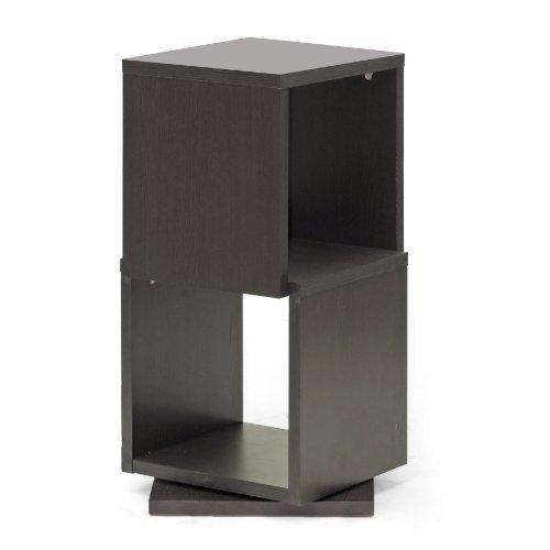 ioneyes studio ogden 2-level rotating modern bookshelf, dark brown