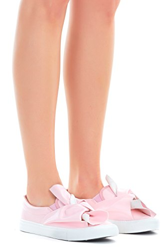Fashion Vegan Leather Monochromatic Lace up Colored Sneakers, Low Top Round Toe Shoes, Stylish Comfortable Slip on Bow Mauve