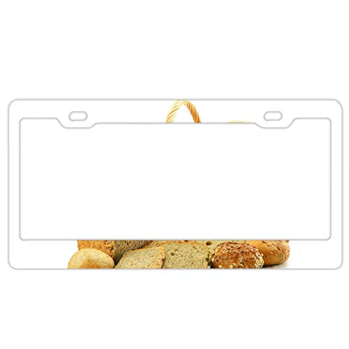 Imtailang Personalized License Plate with Basket Bread Cake Slices Muffins Loaf - License Plates Auto Car Tag - Metal for Front of Car License Plate Covers