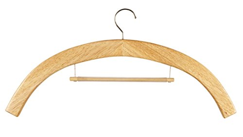 Wooden Vestment Clothes Hanger with Middle Hanging Bar, 21 1/2 Inch, Pack of 6