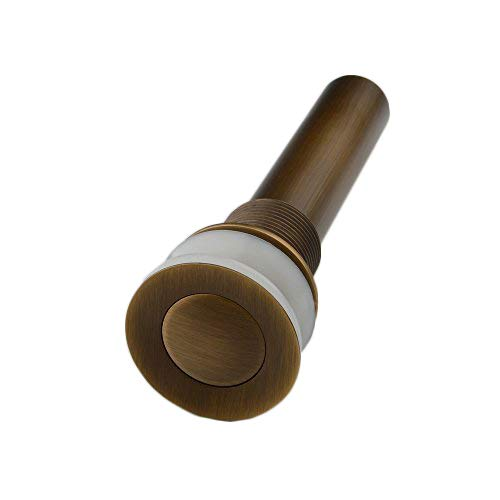 Hiendure Pop up Drain Without Overflow Antique Inspired Brass Bathroom Basin Faucet Drains Sink Strainer Emitter Repair Stopper Parts Antique Bronze Pop Up Drain