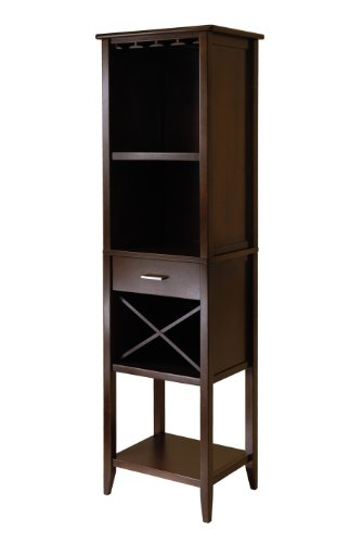 Tower Wine Rack - Winsome Wood Palani Wine Tower, Cappuccino