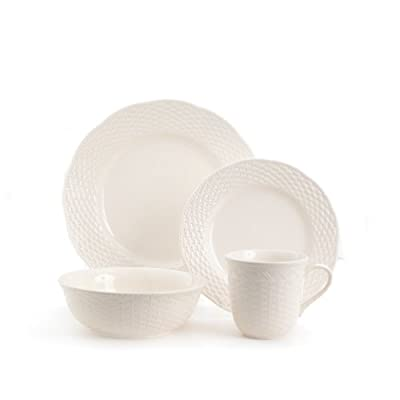 "Red Vanilla FC900-016 Nantucket 16-Piece Dinnerware Set, White - (4) Dinner Plates 11.25"", (4) Salad Plates 8.50"", (4) Soup/Cereal Bowls 7.25"" 30 oz., (4) Mugs 16oz Made of Stoneware Dishwasher Safe - kitchen-tabletop, kitchen-dining-room, dinnerware-sets - 31qhJLC2BWL. SS400  -"