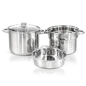 4pc Stainless Steel Pasta Pot with Glass Lid Stainless Steel Stock Pot Free Stainless Steel Non Toxic Cookware Stockpot Large Heavy Duty Stock Pots For Cooking