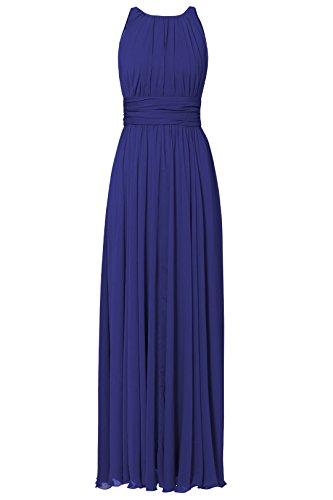 Chiffon Fußboden Damen Abend Irenephil Längen Gefaltetes Frauen Brautjungfernkleid Kleid Elegantes Blau Partei der IdtwUIq