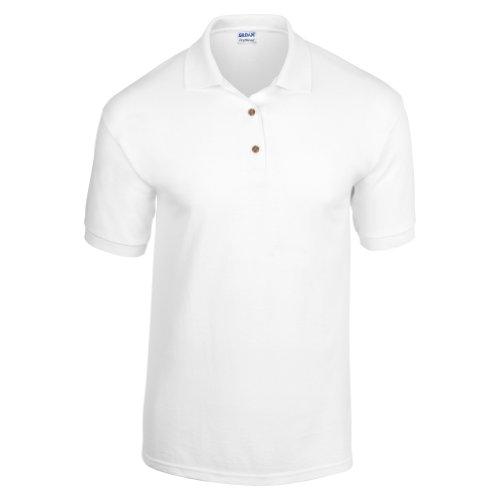Gildan Adult DryBlend Jersey Short Sleeve Polo Shirt (L) (White)