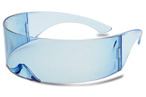 6ea4a1ffbd35 SunglassUP - Wrapped Around Futuristic Cyclops Mirror Single Lens1 Piece PC  Sunglasses (Light Blue