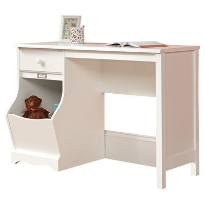 Children Writing Desk One Open Storage Bin with Identification Plate.Drawer Glide Material:Metal-White, 42.639'' W