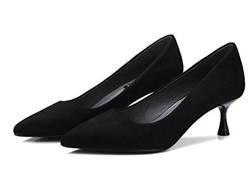 38 Moda Zapatos Nvxie Discotecas Altos Primavera Con Medio Tacón Bombas 5cm 34 Black Mujer De Tacones Punta Verano aFdxwFrPq