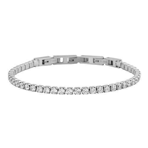 """(EDFORCE Stainless Steel Cubic Zirconia Adjustable Tennis Bracelet with Two Extra Buckles, 6.5"""", 7.0"""