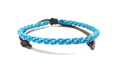 (Bright Sky Blue Adjustable Wax Cotton Weave Thai Wristband Bracelet Handcrafted Wristwear)