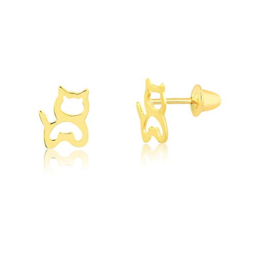 Carol Jewelry 18k Hypoallergenic Solid Yellow Gold Cat Push Backs Stud Earrings for Girls, Children and Toddlers