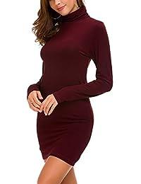 Urban CoCo Women's Turtleneck Long Sleeve Sexy Bodycon Mini Dress