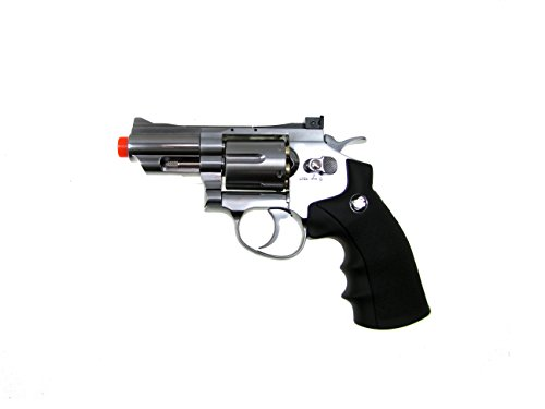 wg model-708s 2 revolver full metal co2 non-blowback/silver included 4 revolver holster-nylon(Airsoft Gun)