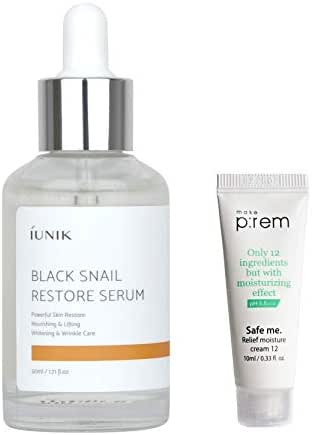iUNIK Black Snail Restore Serum 50ml/1.71 fl.oz. with MAKEP:REM Safe me. Relief moisture cream mini