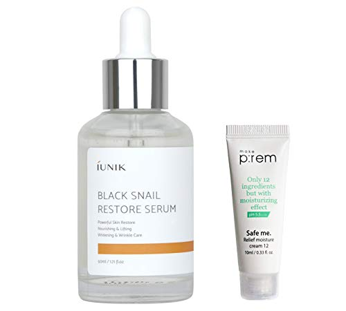 iUNIK Black Snail Restore Serum Repair Ampoule, 1.71 Fl Oz, - 70% Black Snail Mucin Secretion Filtrate – Soothing, Anti-Aging Reduce Wrinkle & Fine Lines -Deep Nourishing, Moisturizing Serum Essence