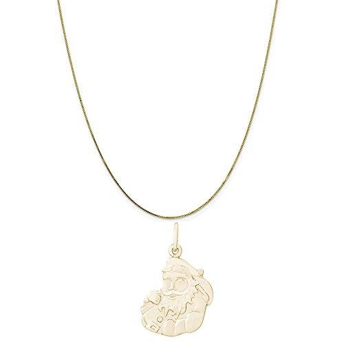 Santa Claus 14k Gold Charm - Rembrandt Charms 14K Yellow Gold Santa Claus Charm on a 14K Yellow Gold Box Chain Necklace, 18