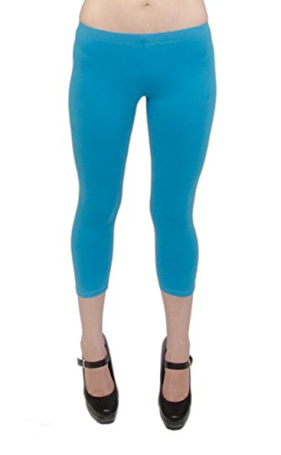 Vivian's Fashions Capri Leggings - Cotton, Junior Size (Turquoise, Large)