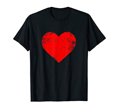 Big Red Heart T-Shirt Distressed Valentines Day Gift Top Tee