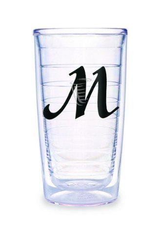(Tervis Tumbler Black Laser Twill Initial - M 16-Ounce Double Wall Insulated Tumbler Set of 4)