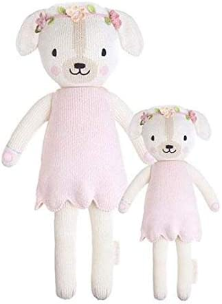 CUDDLE KIND Charlotte The Dog Little 13 Hand-Knit Doll 1 Doll 10 Meals, Fair Trade, Heirloom Quality, Handcrafted in Peru, 100 Cotton Yarn