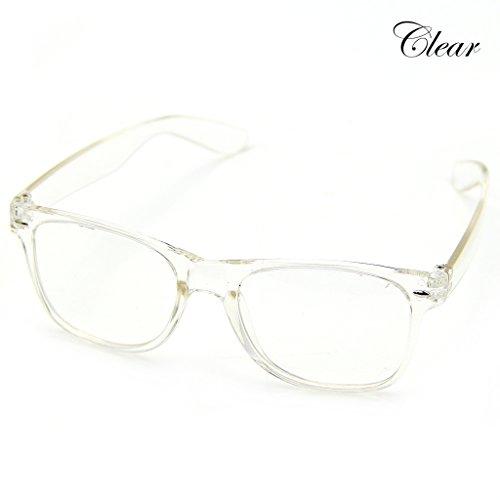 Doober Men Boy Women Girl Unisex Clear Lens Wayfarer Nerd Geek Glasses Eyewear 1pc (Clear, - Side Wayfarer Shields