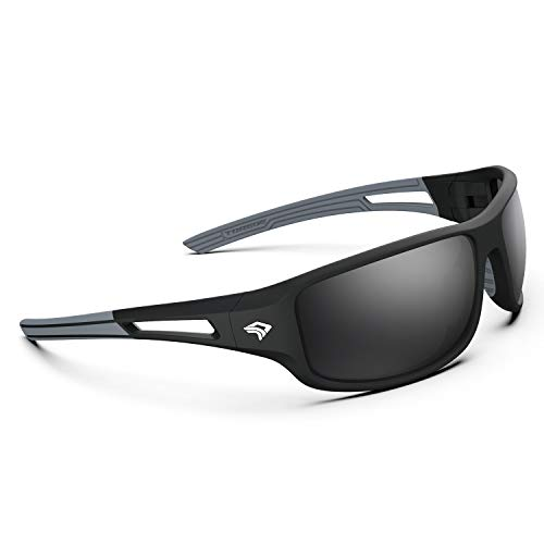 TOREGE Polarized Sports Sunglasses for Men Women Cycling Running Driving Fishing Golf Baseball Glasses EMS-TR90 Unbreakable Frame TR03 (Matte Black&Grey Frame with Grey Lens)