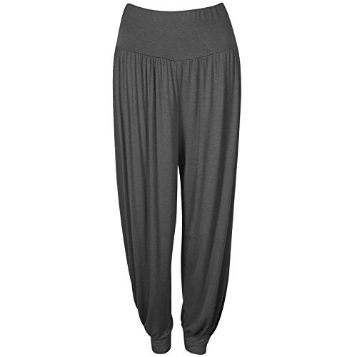 Size Leggings Plus 8 Baba 22 Prettyfashion Niñas Holgados Larga Harén Ali Damas De Harem Pantalones Mujeres Charcoal 1647wxqOWP
