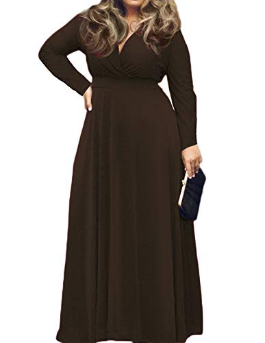 POSESHE Women's Plus Size Solid V-Neck Long Sleeve Evening Party Maxi Dress (3 plus, - Party Plus Women Dresses Size
