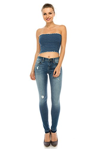 Smocked Bottom Frill Detail Dyed Tube Top Bandeau in Indigo - Small